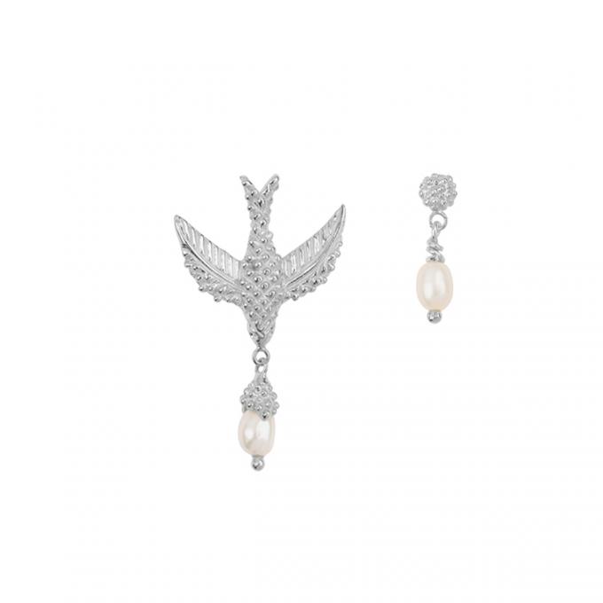 Bird Pearl Earrings Silver
