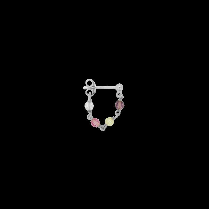 Single Confetti Chain Earring Silver