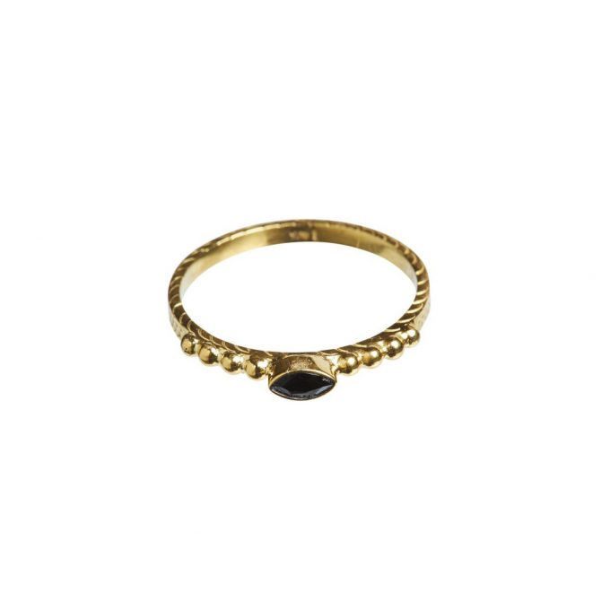 Onyx Eyeshape Dots - 14K Gold