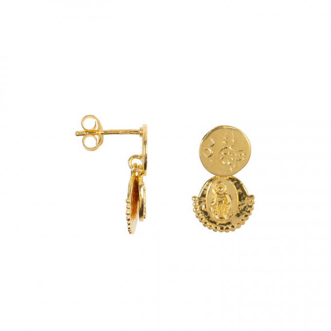 Three Double Coin Stud Earring Goldplated