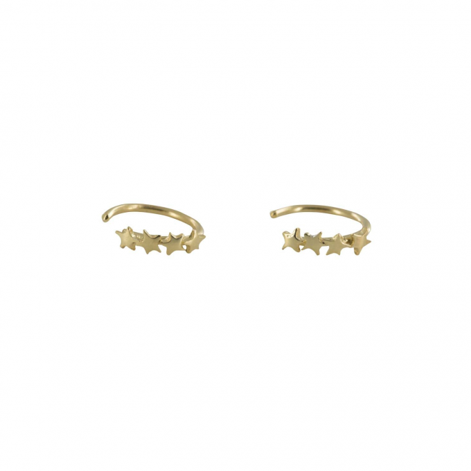 Four Stars Ring Earring Goldplated