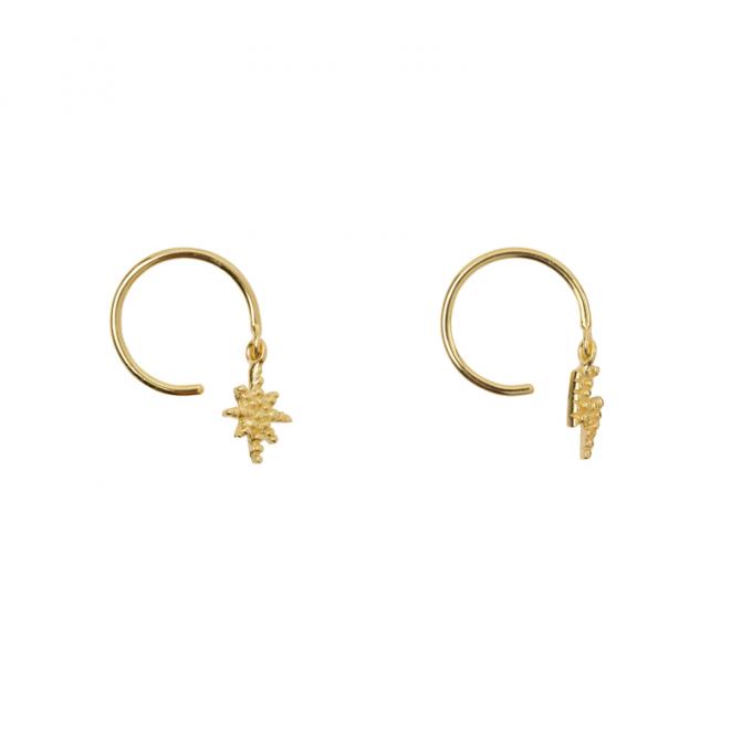 Flash & Star Earring Goldplated