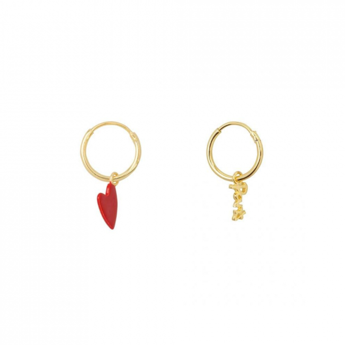 Small Hoop Big Red Heart and Paris Earring Goldplated