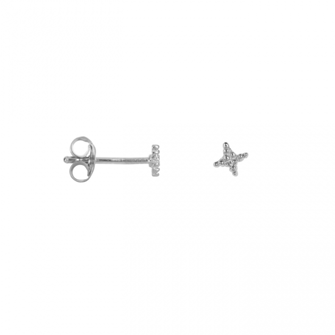 Dotted Cross Star Stud Earring Silver