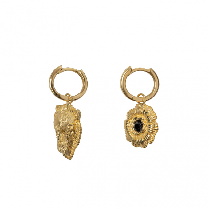 Small Hoop Lion Head and Wild Flower Goldplated