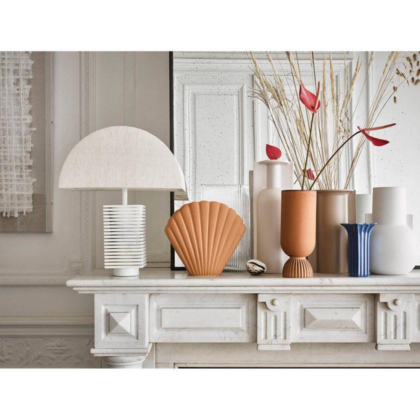 Ceramic Shell Vase - Brown