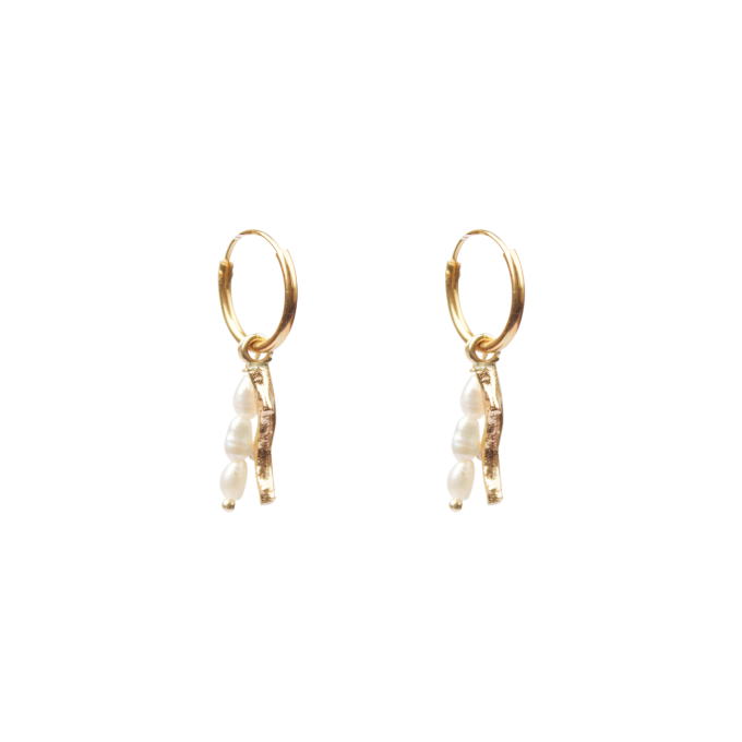 Coral With Freshwater Pearls Earring Goldplated
