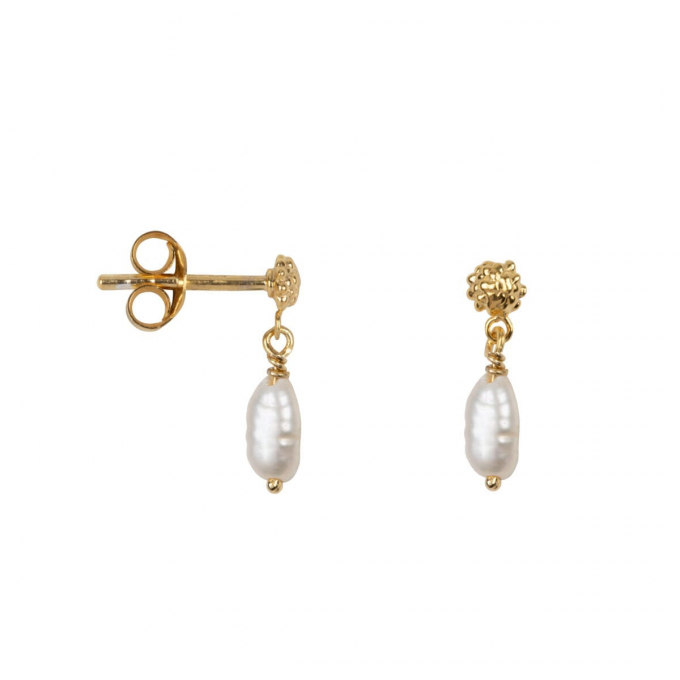 Dotted Pearl Studs Goldplated