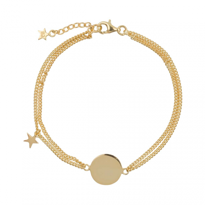 Double Chain Star MUM Bracelet Goldplated