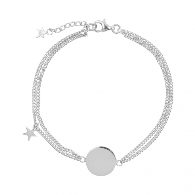 Double Chain Star MUM Bracelet Silver