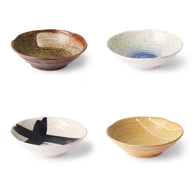 Kyoto Ceramics: Japanese Shallow Bowl Set of 4