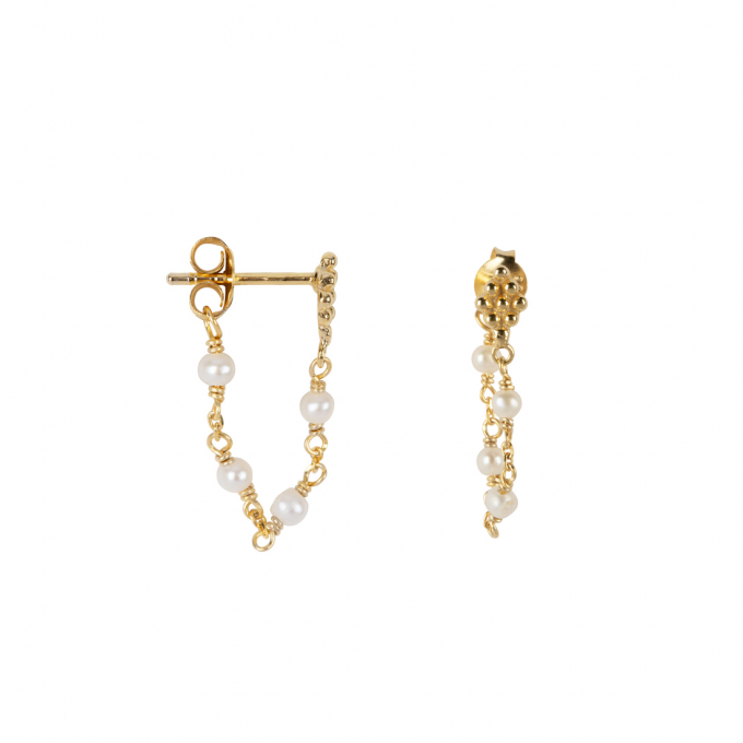 Wieber Chain with Pearls Studs Goldplated