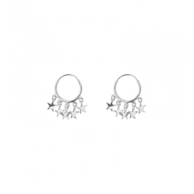 Small Hoop 5 Stars Earring Silver