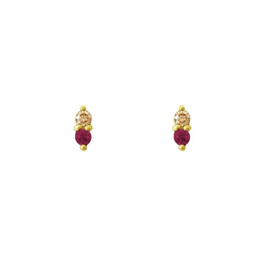 Zirkonia Ruby Goldplated