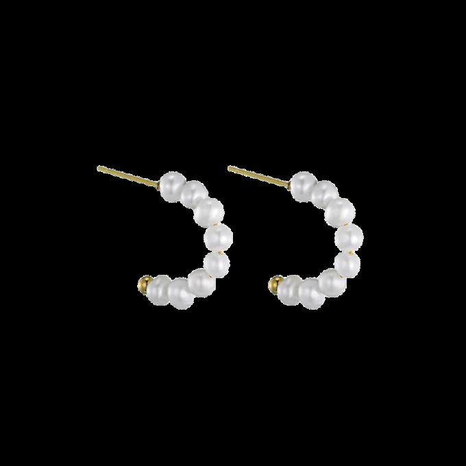 Freshwater Pearls Half Moon Pair Of Earrings Goldplated