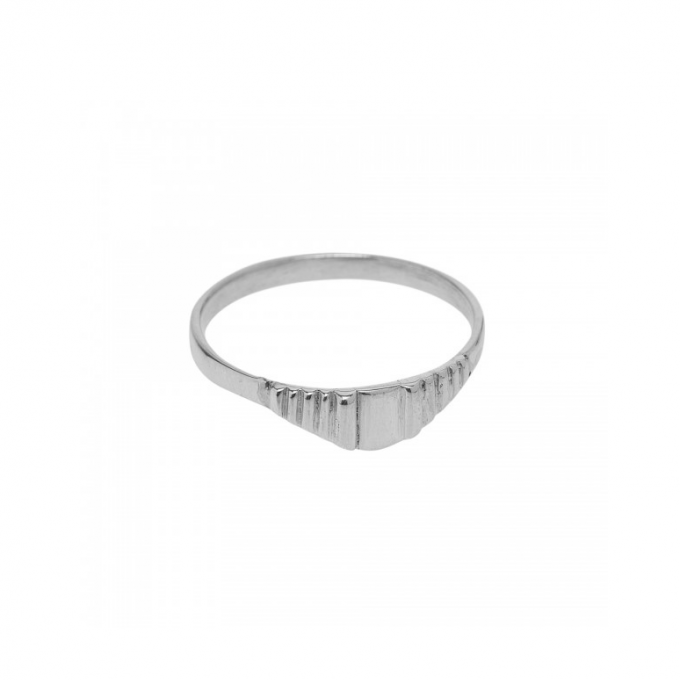 Stripe Square Ring Silver