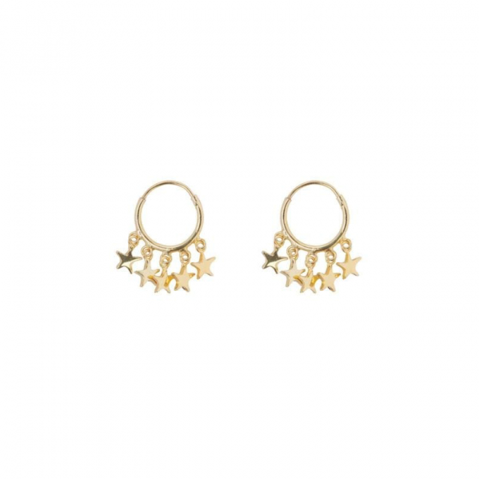 Small Hoop 5 Stars Earring Goldplated