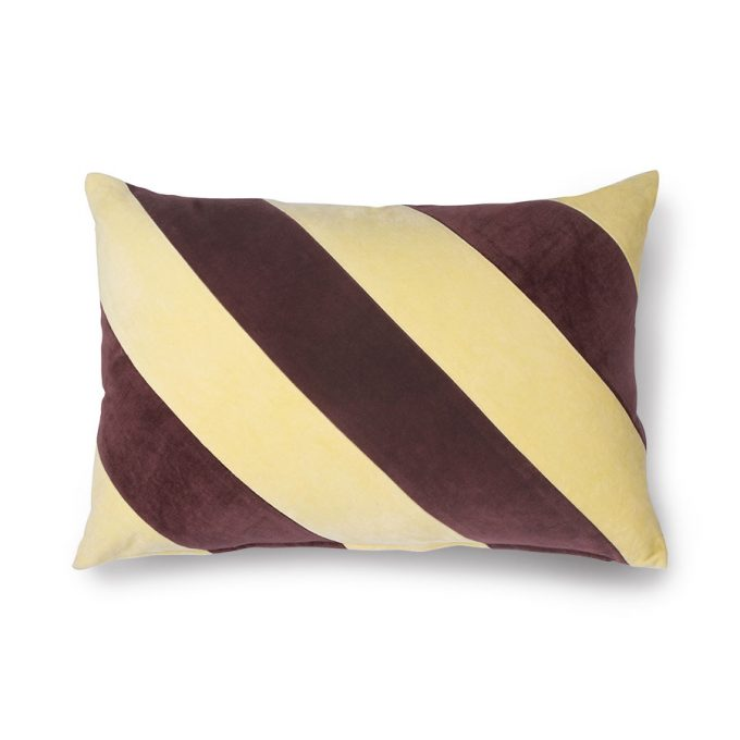Striped Cushion Velvet Yellow/Purple (40x60)