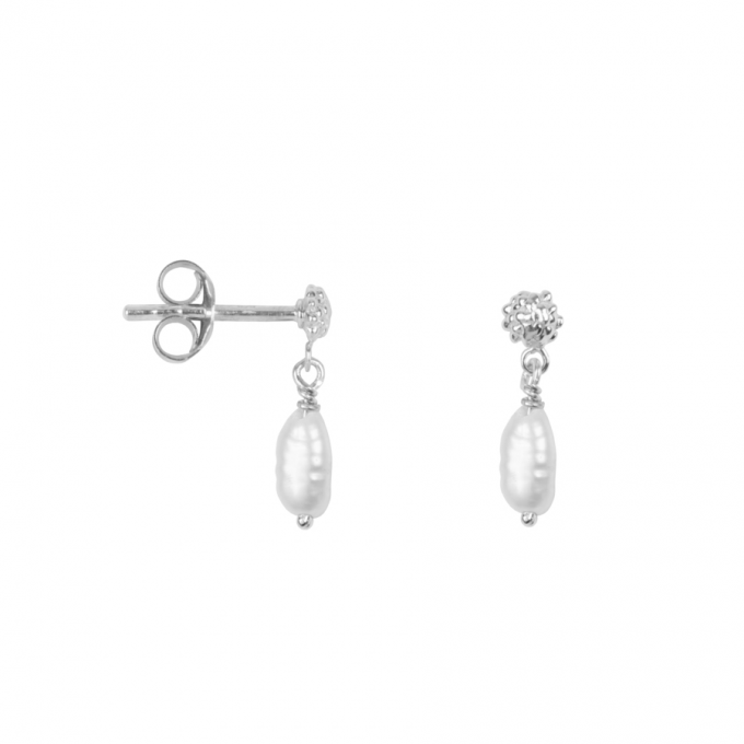 Dotted Pearl Studs Silver