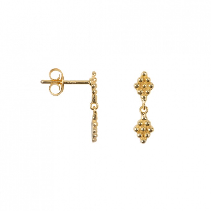 Double Dotted Wieber Studs Goldplated
