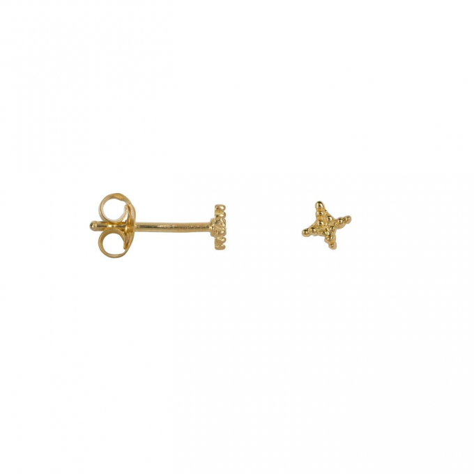 Dotted Cross Star Stud Earring Goldplated
