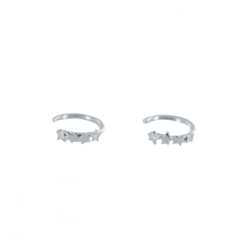 Four Stars Ring Earring Silver