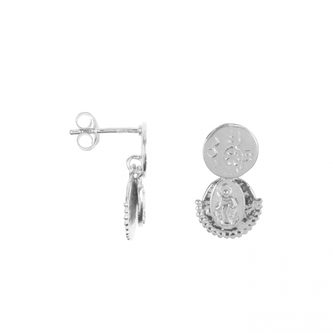 Three Double Coin Stud Earring Silver