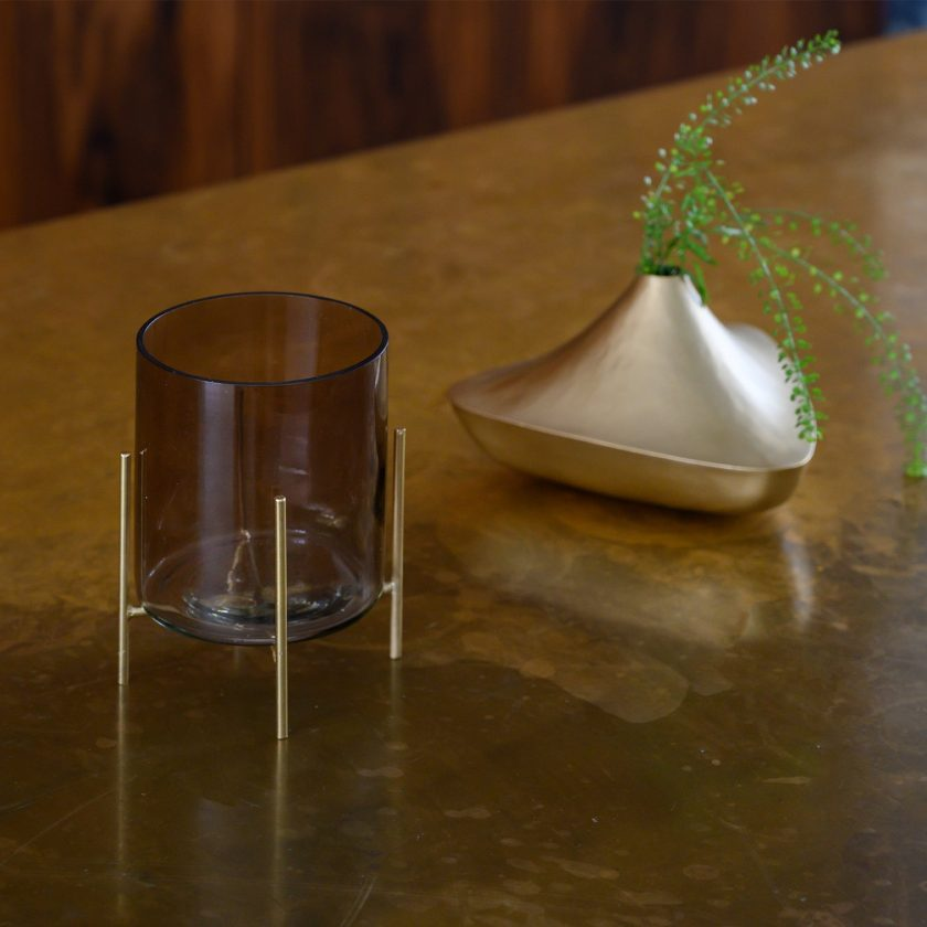 Wax Light Holder On Foot - Ebony In Gift Pack