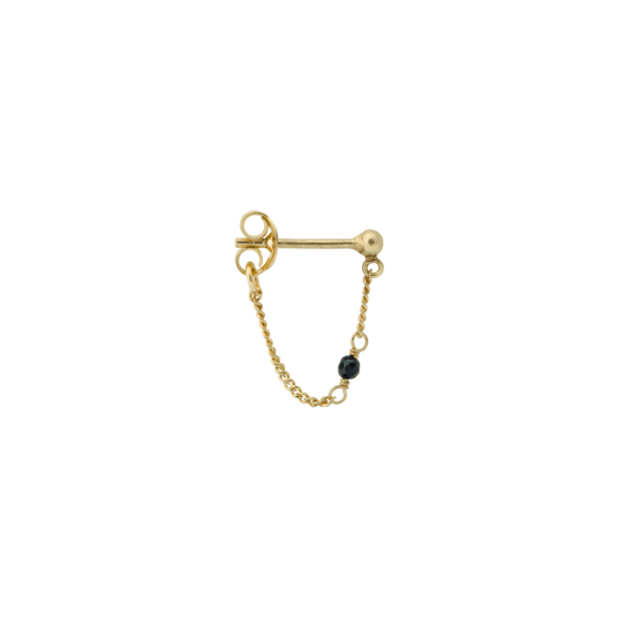Single Meteorite Chain Earring Goldplated