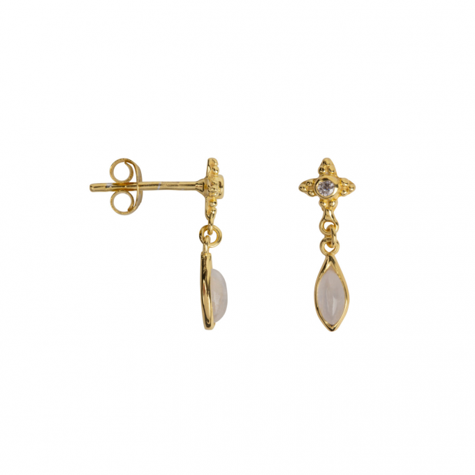 Moonstone with Drop Stud Earring Goldplated