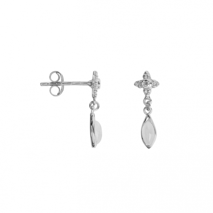 Antique Dotted Moonstone with Drop Stud Earring Silver