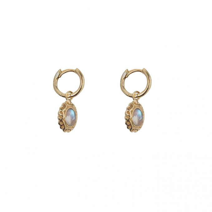 Antique Moonstone Small Hoops Earring Gold Plated