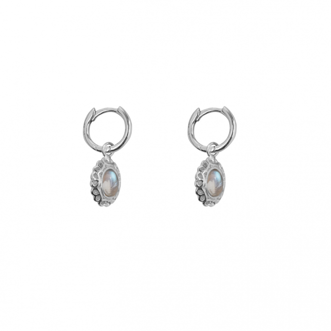 Antique Moonstone Small Hoops Earring Silver