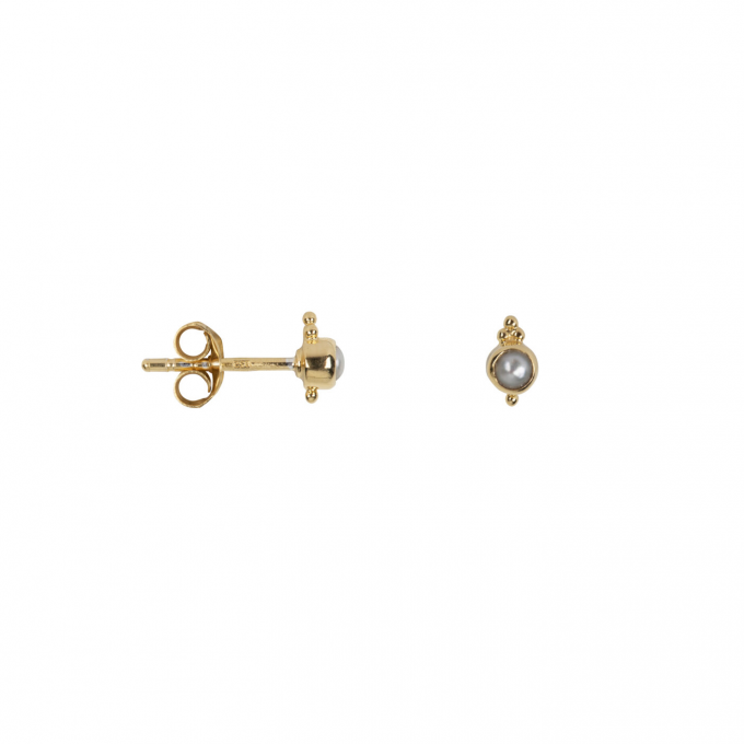 Antique Pearl Stud Earring Gold Plated