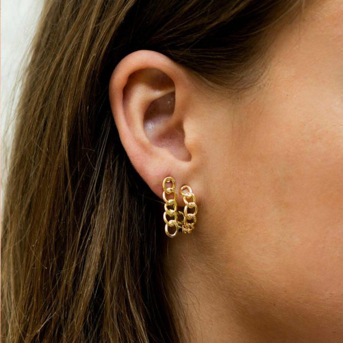 Big Chain Stud Earring Silver