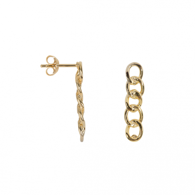 Big Chain Stud Earring Gold Plated