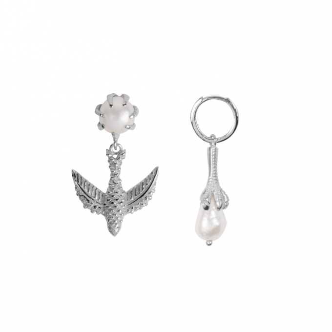 Bird And Claw Pearl Earring Silver