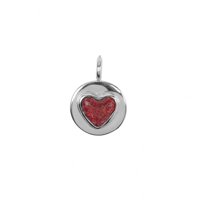 red heart charm Silverplated
