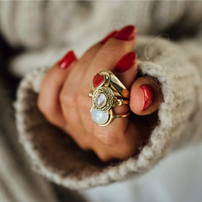 Antique Moonstone Ring Gold Plated