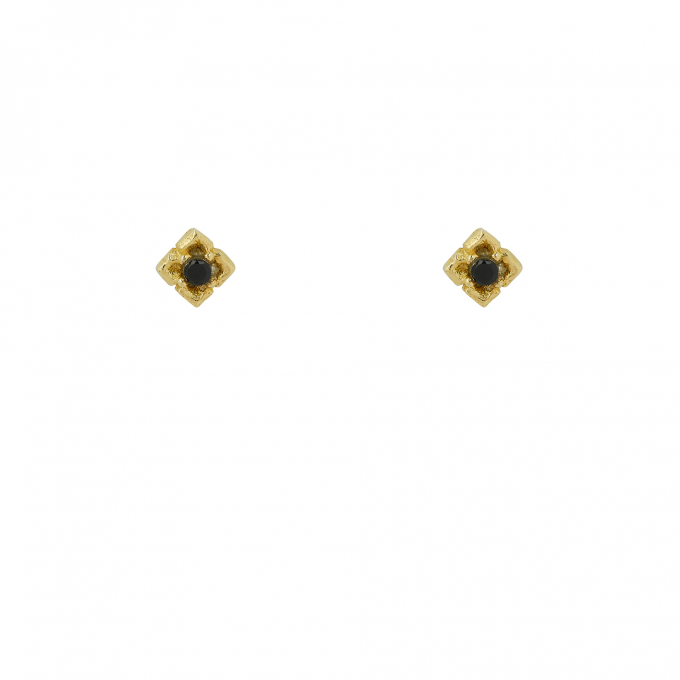 Stone Rose Studs Goldplated