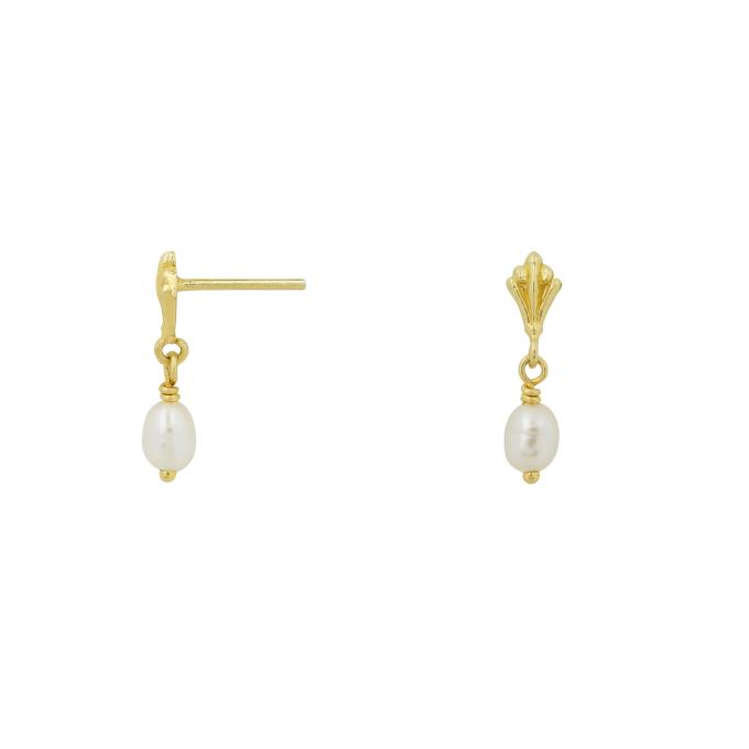 Ornamental Pearl Drop Studs Goldplated