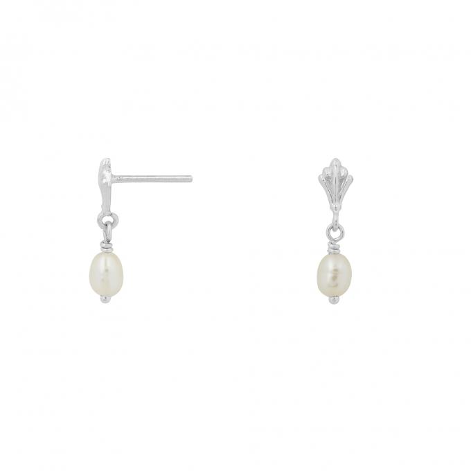 Ornamental Pearl Drop Studs Silver