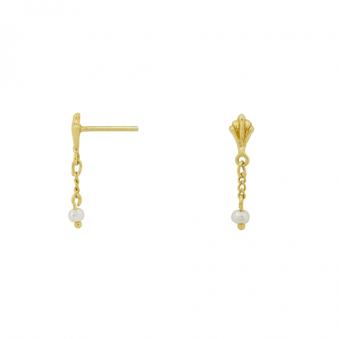 Ornamental Pearl Chain Studs Goldplated
