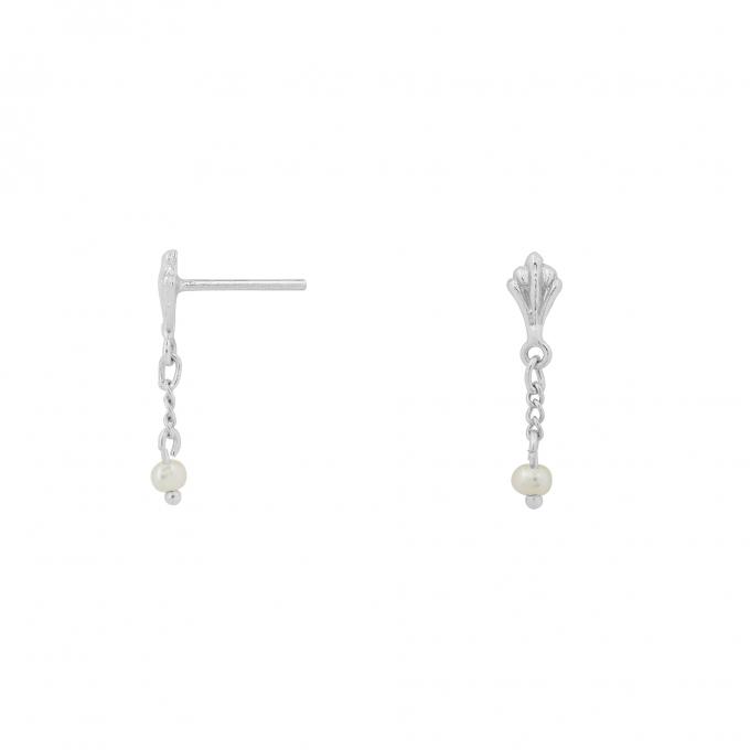 Ornamental Pearl Chain Studs Silver