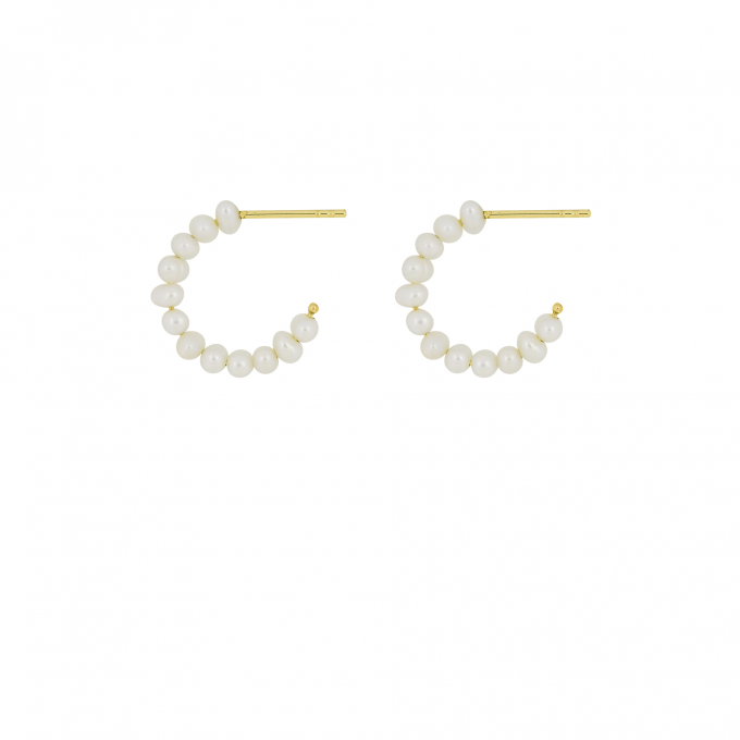 Classic Pearl Hoops Goldplated
