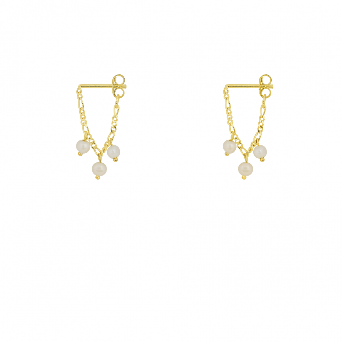 Hanging Pearl Chain Studs Goldplated
