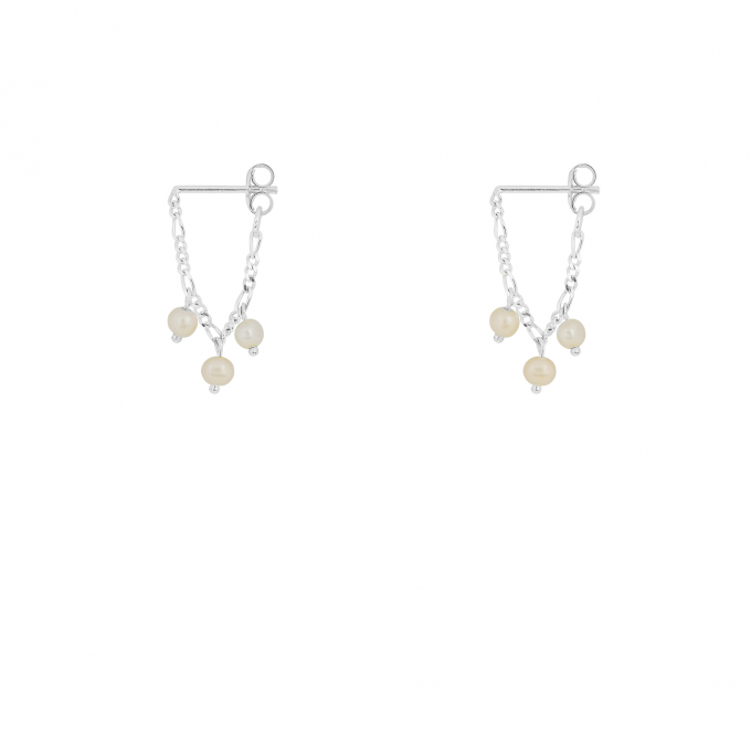 Hanging Pearl Chain Studs Silver