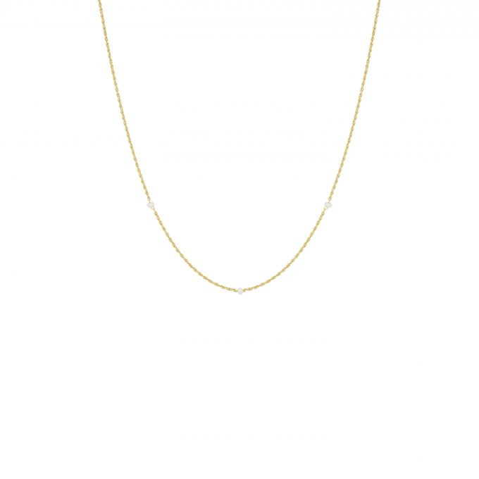 Twisted Pearl Drop Necklace Goldplated