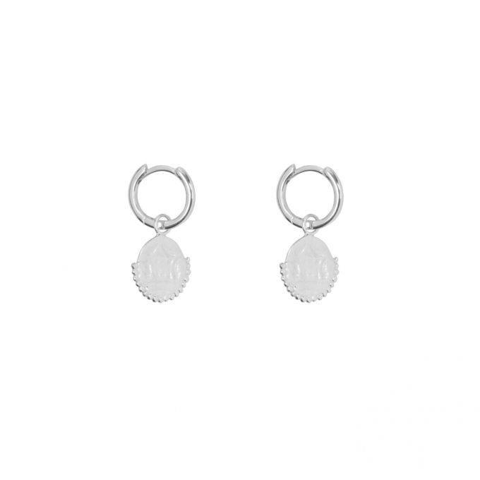 Old Coin Small Hoop Earring Silver