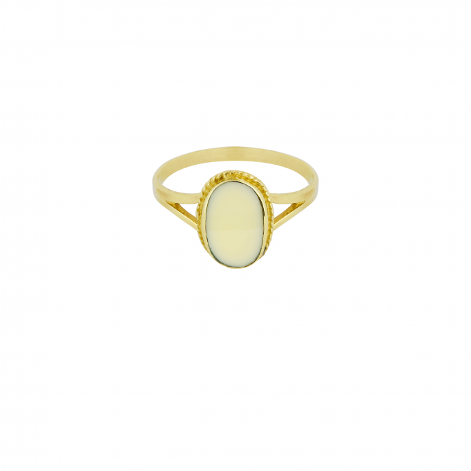 Oval Souvenir Ring Ivory Goldplated